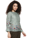 Casual 3/4 Sleeve Floral Print Women Multicolor Top