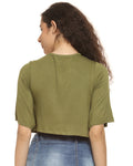 Casual Regular Sleeve Printed Women Green, Black Top
