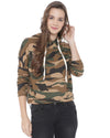 Casual Full Sleeve Camouflage Women Beige Top