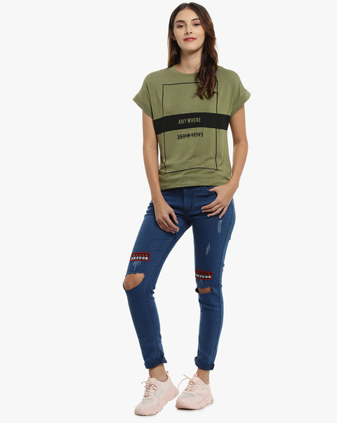 Casual Half Sleeve Printed Women Green Top