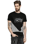 Printed Men Round Neck Black T-Shirt