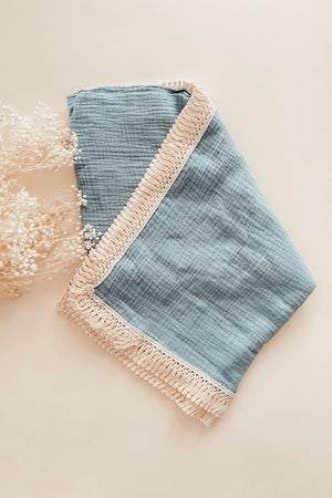 Load image into Gallery viewer, Baby Blue Tassel Swaddle Blanket