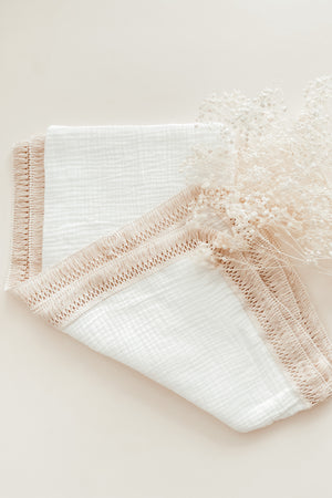 Load image into Gallery viewer, White Tassel Swaddle Blanket