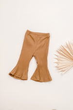 Caramel Ribbed Flare Pants