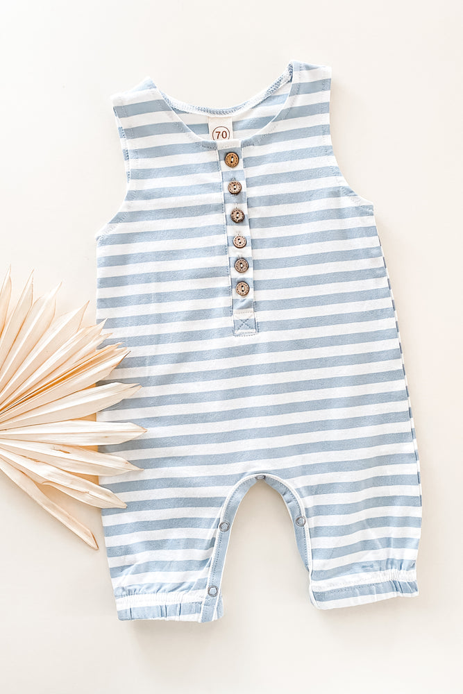 Load image into Gallery viewer, Blue Stripes Romper