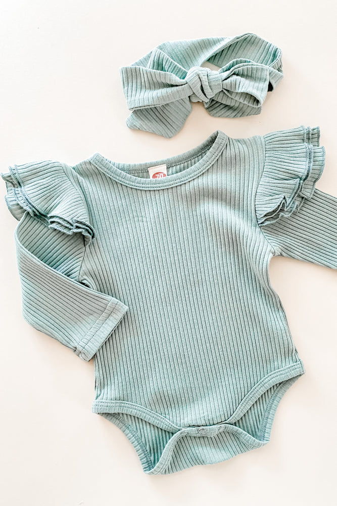Piper Ruffle Bodysuit + Bow