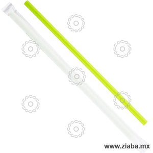 Popote Biodegradable de PLA Estuchado, Verde, 23cm x 7mm - Karat Earth