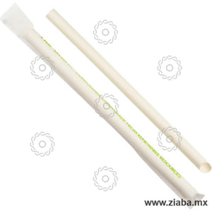 Popote Biodegradable de Papel Estuchado para Tapioca, 23cm x 10mm, Blanco - Karat Earth