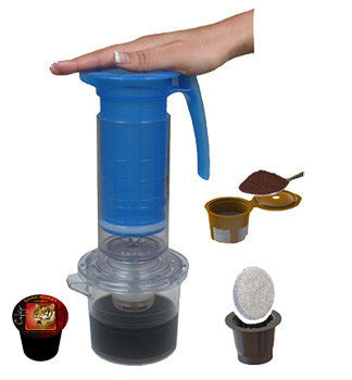 My French Press® Single Serve Cup Brewer - Pod and Ground Coffee Adaptors Included (Case of 12 - $22 Each)