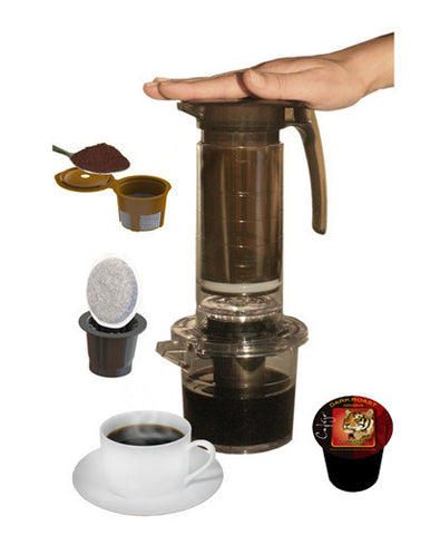 My French Press® Single Serve Cup Brewer - Pod and Ground Coffee Adaptors Included (Case of 4 - $25 Each)