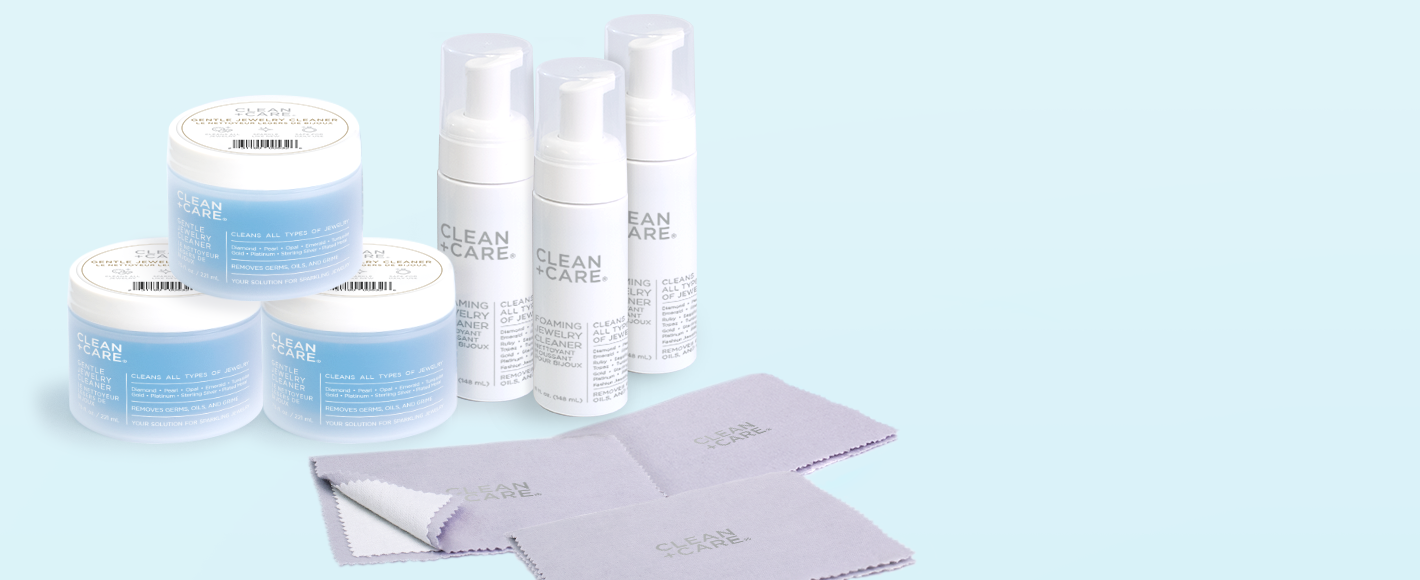 Clean + Care offers bundle options for purchase. In the image there are clean + care gentle jewelry cleaner, Clean + Care Foaming cleaners, Clean + Care Polishing Cloths