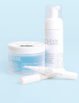 clean and care products gentle cleaner, foaming jewelry cleaner, sparkle and shine sticks. Linked to clean and care jewelry cleaner products