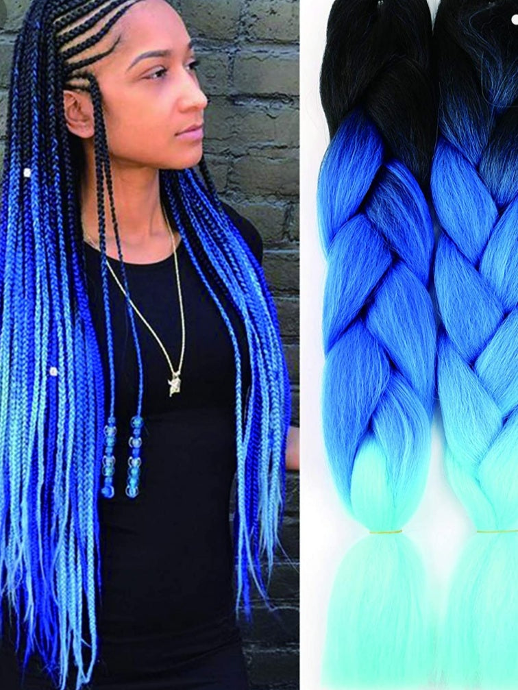 Xclusive Beauty Black faded to light blue braiding hair