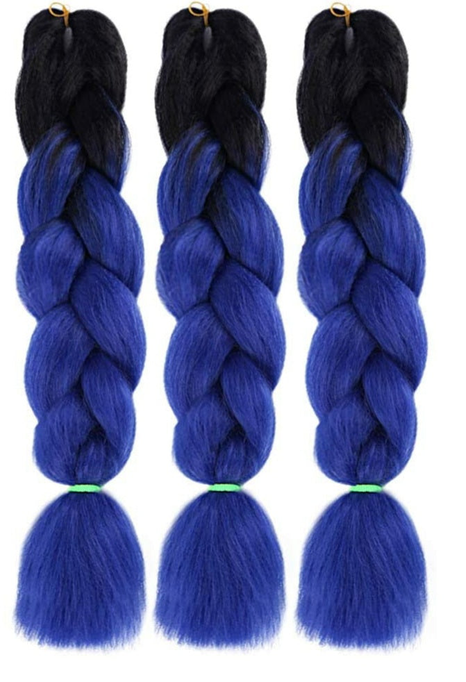 Xclusive Beauty Black faded to dark blue braiding hair