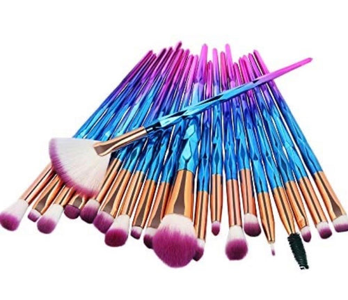 12 set purple fade to blue makeup brushes