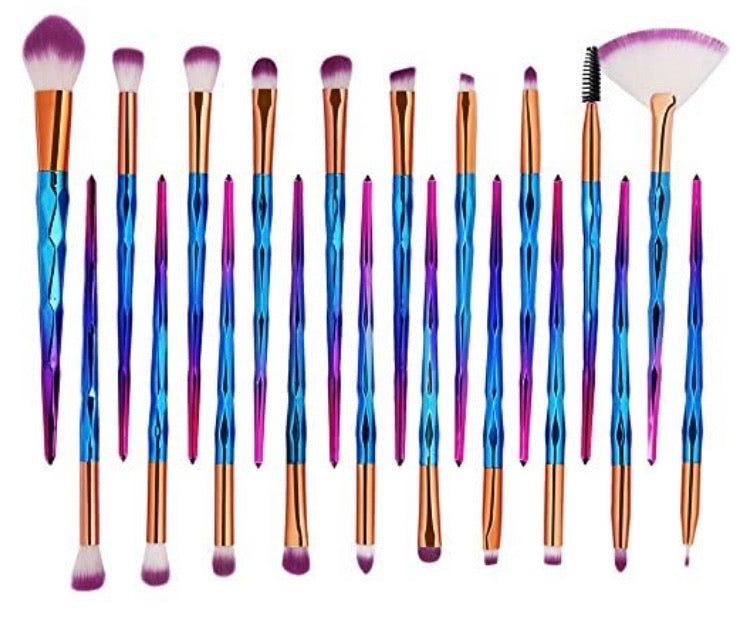 putple top 12 piece makeup brushes