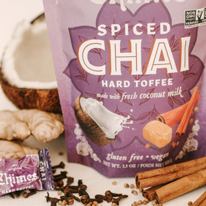 Chimes Gourmet Spiced Chai Hard Toffee Candy!  We take real coconut milk and cook it with caramelized cane sugar to create a toasty toffee that will tango on your tongue! The recipe is a classic from Malaysia, where it's been a local treat for generations