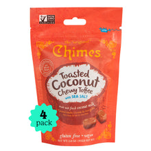 Load image into Gallery viewer, Chimes Gourmet Toasted Coconut Chewy Toffee, 4-Pack 2.8oz