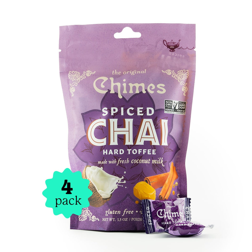 Chimes Coconut Spiced Chai Toffee Candy | 4-Pack | 3.5oz