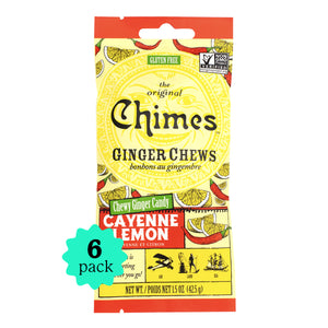 Chimes Ginger Chews | Cayenne Lemon Flavor | 6 Pack | 1.5oz