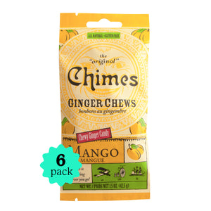 Chimes Gourmet Ginger Chews, Mango Flavor, 1.5oz 6-Pack, 4 simple ingredients, Vegan, Non-GMO, Gluten-Free