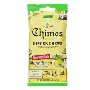 Chimes Gourmet Vegan, Non-GMO Ginger Chews, 6-Pack 1.5oz - Combo Pack with Meyer Lemon, Original, Mango, Orange, Cayenne Lemon, and Peppermint