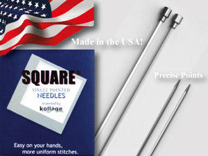 Kollage Square Single Pointed Needle 3.0 mm/US2.5-10""