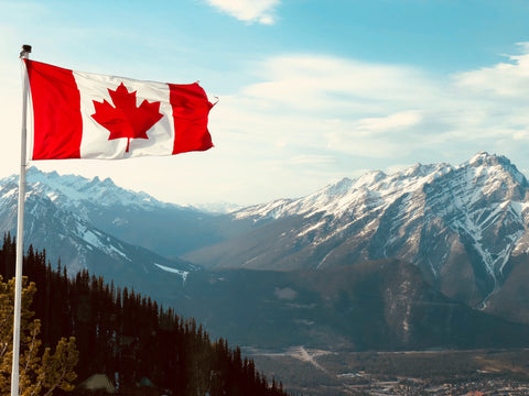 Canada Flag and Mountains