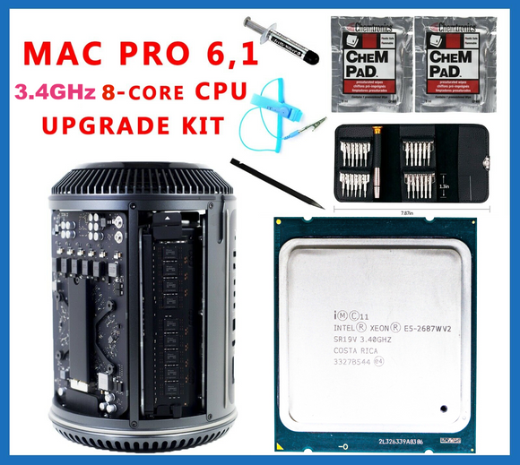 Apple Mac Pro 6.1 Late 2013 3.4GHz E5-2687w v2 8-Core Xeon CPU Upgrade kit