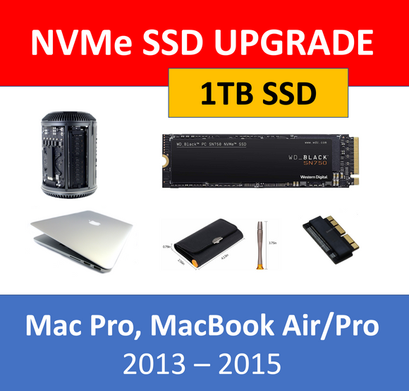 WD Black 1TB NVMe SSD Mac Pro 2013 MacBook Air/Pro 2013 2014 2015 Upgrade Kit