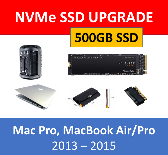WD Black 500GB NVMe SSD Mac Pro 2013 MacBook Air/Pro 2013-2015 Upgrade Kit 512GB