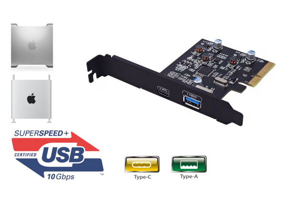 USB 3.1 10Gbps PCIe Adapter Type-C Type-A Mac Pro 5,1 4,1