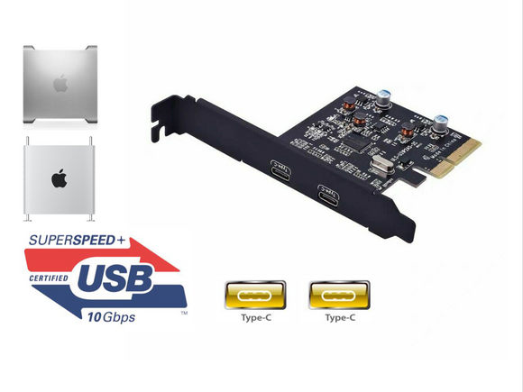 USB 3.1 10Gbps PCIe Adapter Type-C x2 Mac Pro 5,1 4,1