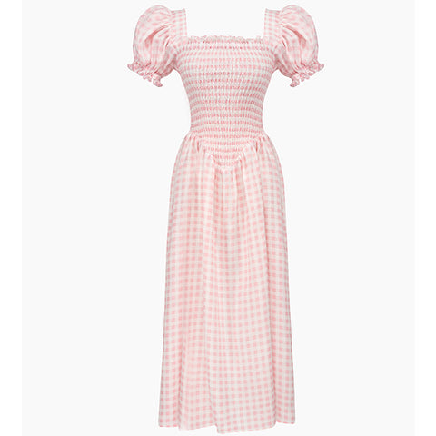 Responsible Fashion Brand Sleeper's Belle Linen Dress in Pink Vichy