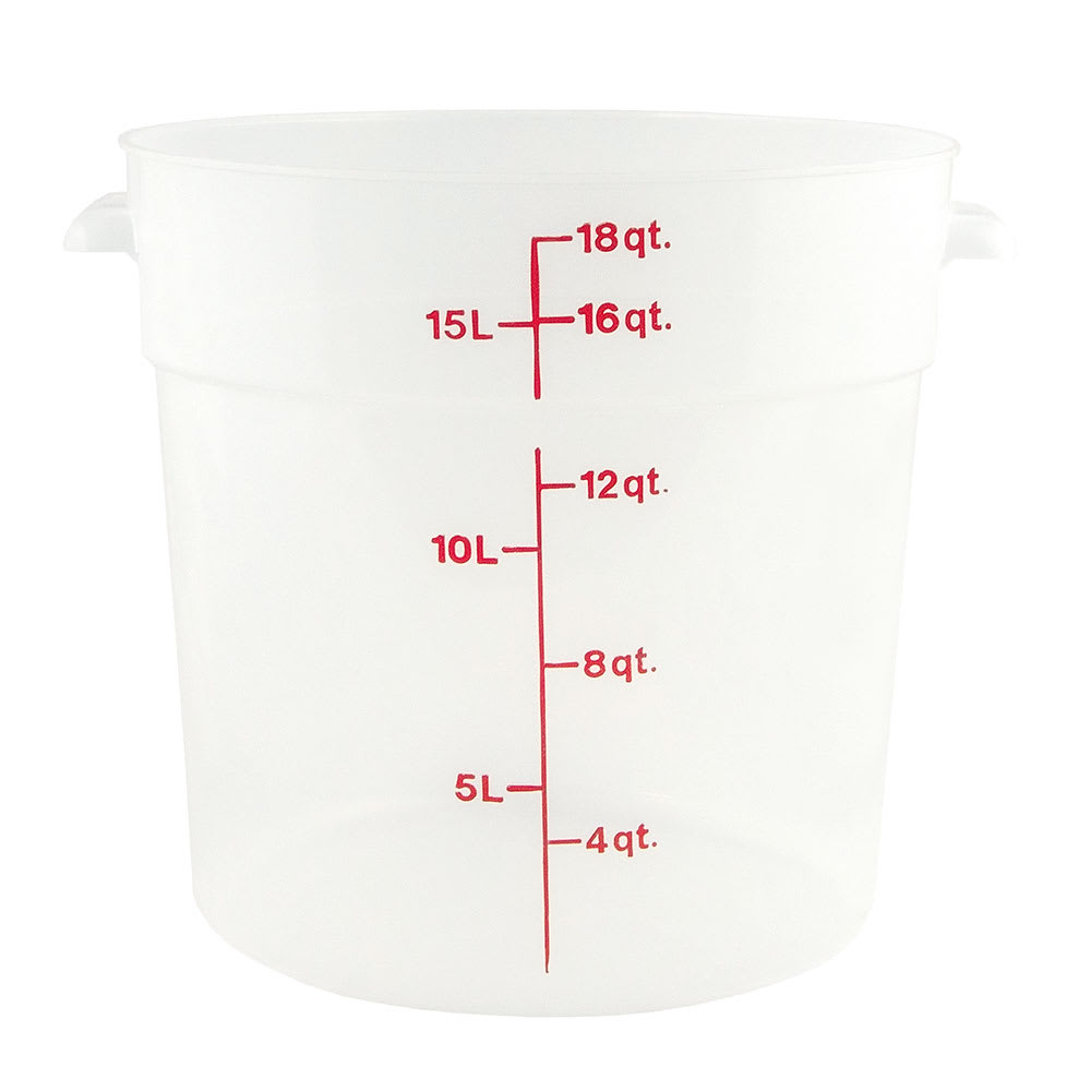 Cambro 18 qt Round Storage Container - Translucent- Polypropylene
