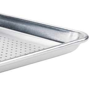 "18"" x 26"" Perforated Full Size 19 Gauge Wire in Rim Aluminum Sheet Pan"