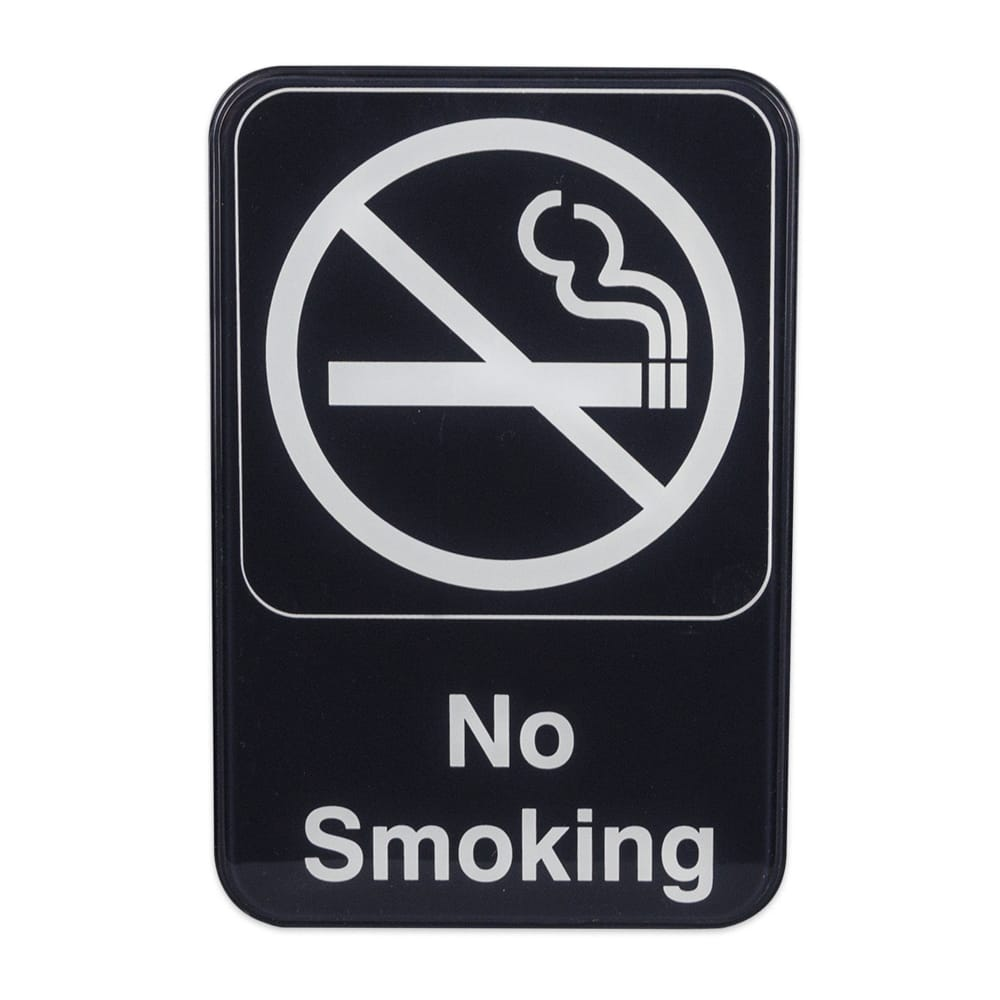 "No Smoking"" Sign - 6x9"" White on Black"