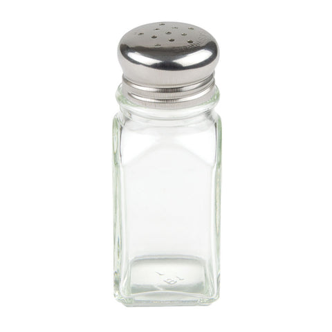 2 oz Shaker for Salt/Pepper - Metal Lid, Square
