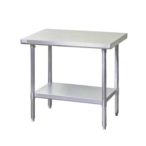 "Work Table, Stainless Steel Top with Galvanized Steel Undershelf and without Backsplash - 48""W x 30""D"