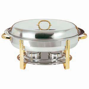 Gold Accented Oval Chafer 6 Quart