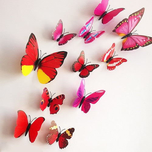 24 Pcs 3D Butterfly Wall Stickers-8 colours