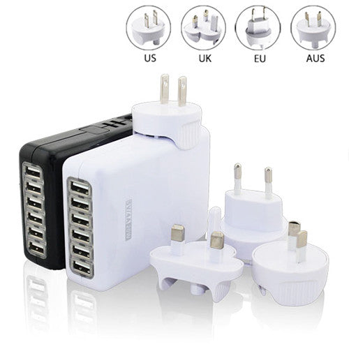 6-USB Universal Travel Wall Charger(UK/Euro/US/AU Plug)