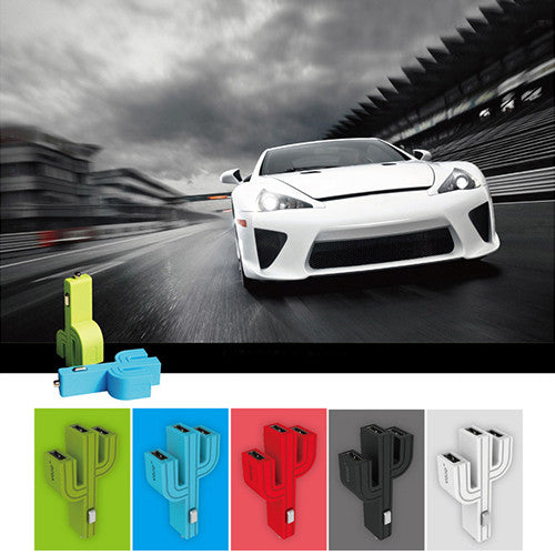 Cactus Mini Triple-USB Car Charger