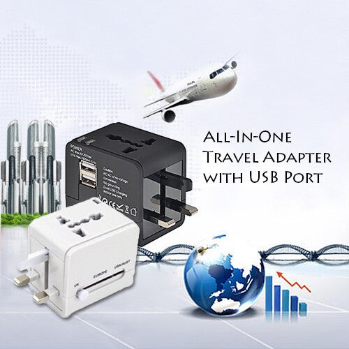 All-In-One Travel Adapter with 2 USB Ports