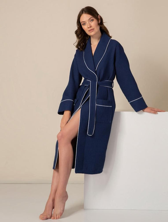 Women's Navy Luxury Long Waffle Bathrobe
