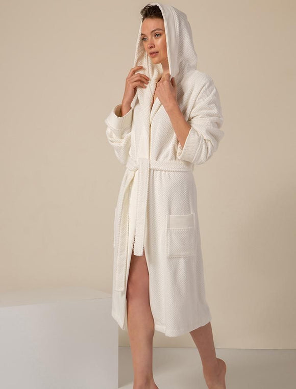 Women's White Turkish Cotton Loose Cut Terry Bathrobe