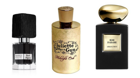 Black Afgano Nasomatto Midnight Oud Juliette Has a Gun Rose d'Arabie Armani Privè legno legnosi