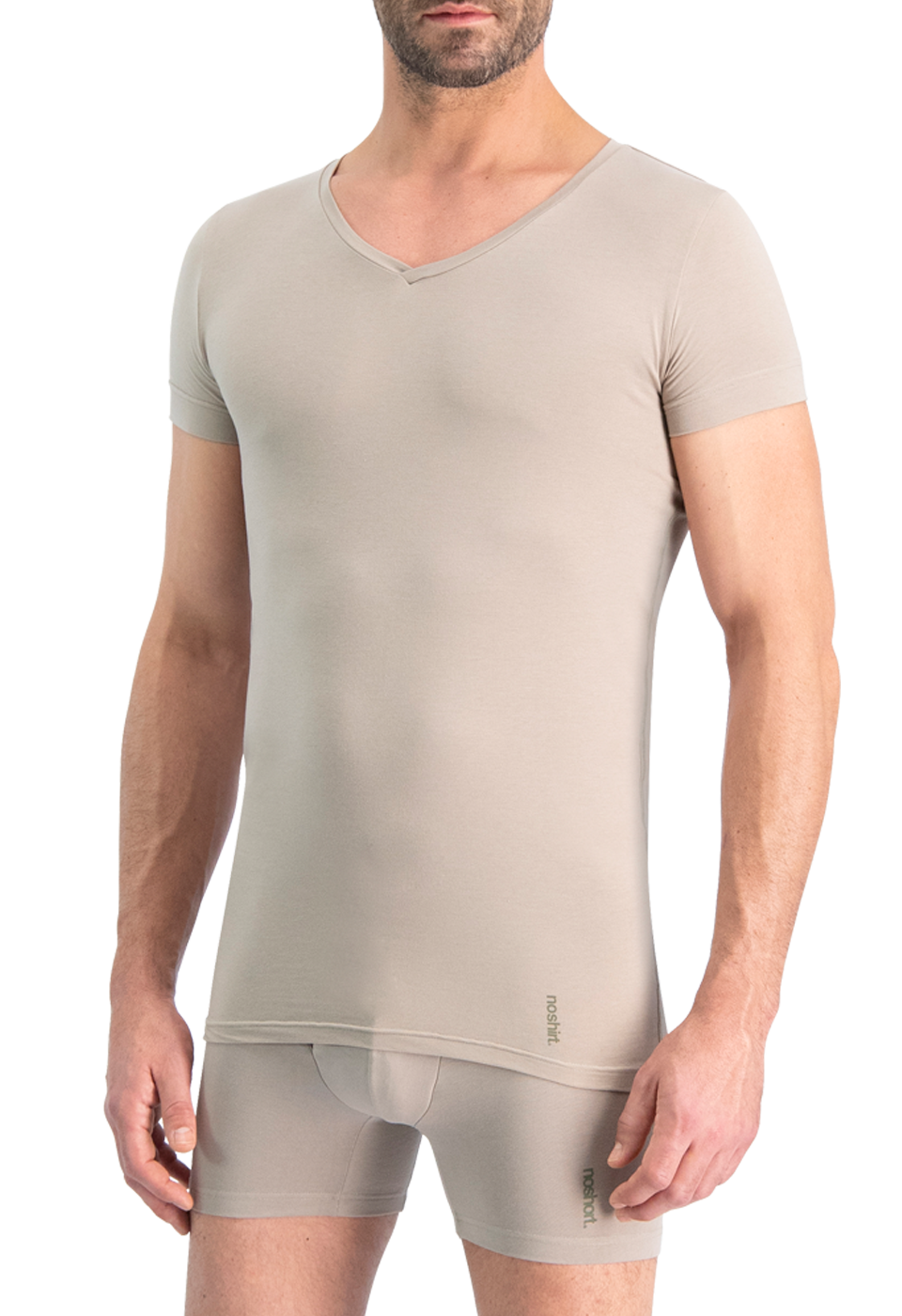 NOSHIRT nature - regular V - invisible khaki