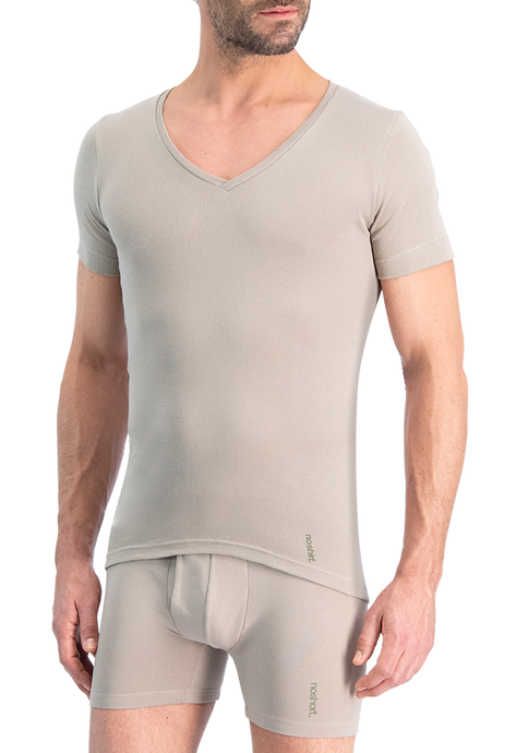NOSHIRT pure - deep V - invisible khaki
