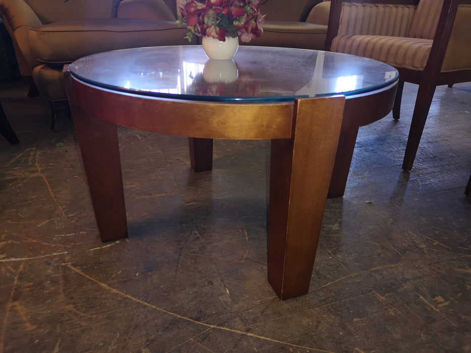 Round Wood Coffee Table with Glass Top FSW